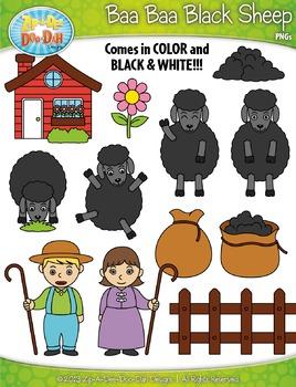 FREE Baa Baa Black Sheep Nursery Rhyme Clipart {Zip-A-Dee-Doo-Dah Designs}
