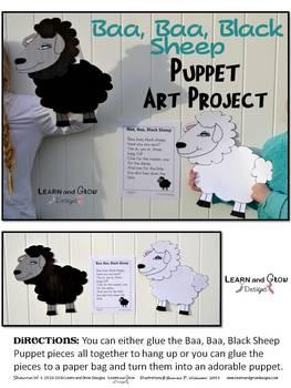Baa, Baa, Black Sheep Nursery Rhyme Puppet Art Project