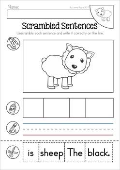 Baa, Baa, Black Sheep Nursery Rhyme Worksheets and Activities