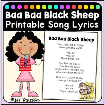 Baa, Baa Black Sheep, Printable Song Lyrics for Poetry Jou