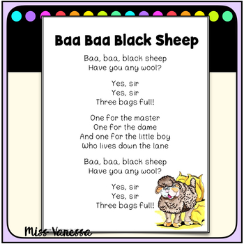 Baa, Baa Black Sheep, Printable Song Lyrics for Poetry Journals, Music & More!