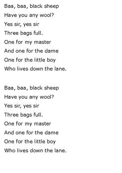 Baa Baa Black Sheep Word Search