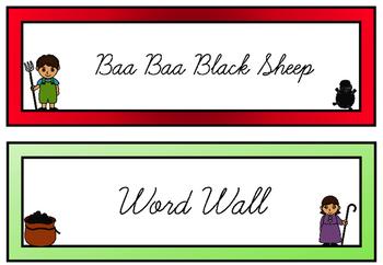 Baa Baa Black Sheep Word Wall (Cursive Font)