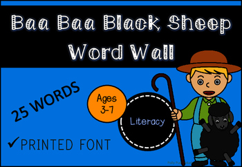 Baa Baa Black Sheep Word Wall (Printed Font)