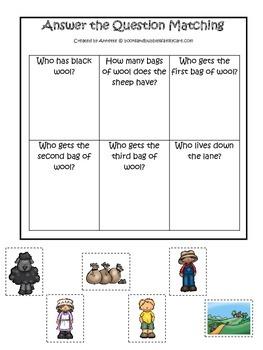 Baa Baa Black Sheep themed Answer the Question preschool e