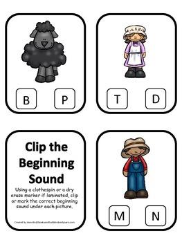 Baa Baa Black Sheep themed Beginning Sounds Clip it Cards