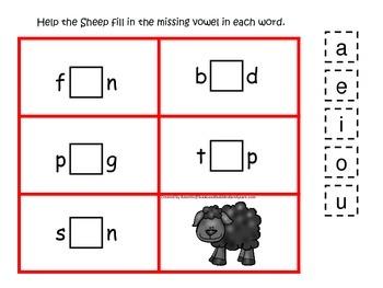 Baa Baa Black Sheep themed CVC activity #1.  Preschool and daycare vowels.