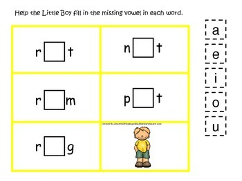 Baa Baa Black Sheep themed CVC activity #4.  Preschool and daycare vowels.