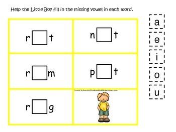 Baa Baa Black Sheep themed CVC activity #4.  Preschool and daycare vowels.