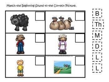 Baa Baa Black Sheep themed Match the Beginning Sound preschool educational game.