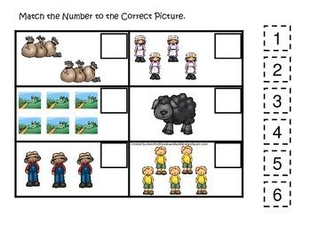 Baa Baa Black Sheep themed Match the Number preschool educational game.