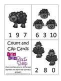 Baa Baa Black Sheep themed Math Numbers Clip it Cards preschool activity.