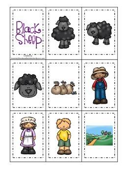 Baa Baa Black Sheep themed Memory Matching preschool educational game.
