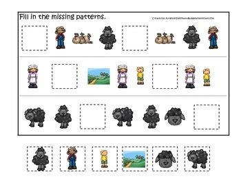 Baa Baa Black Sheep themed Missing Pattern preschool educational game.