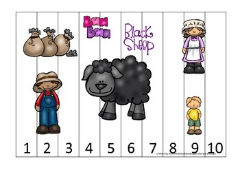 Baa Baa Black Sheep themed Number Sequence Puzzle 1-10 pre
