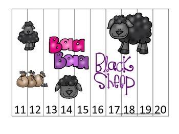 Baa Baa Black Sheep themed Number Sequence Puzzle 11-20 preschool educational ga