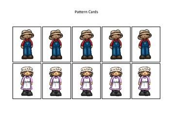 Baa Baa Black Sheep themed Pattern Cards #2 preschool educational game.