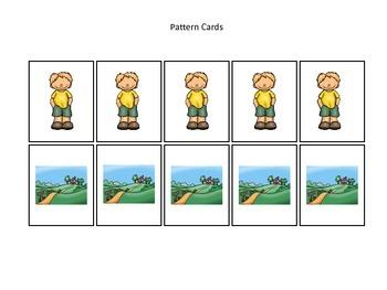 Baa Baa Black Sheep themed Pattern Cards #3 preschool educational game.