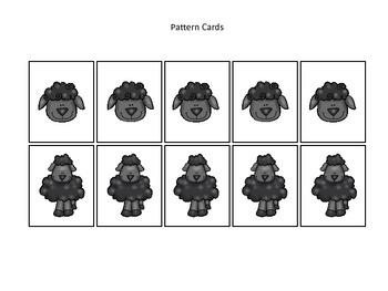 Baa Baa Black Sheep themed Pattern Cards #4 preschool educational game.