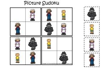 Baa Baa Black Sheep themed Picture Sudoku preschool educational game.