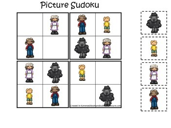 Baa Baa Black Sheep themed Picture Sudoku preschool educat