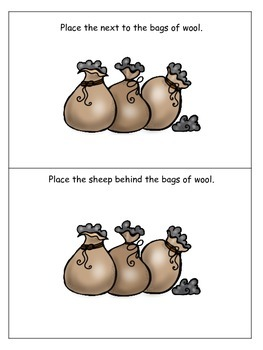 Baa Baa Black Sheep themed Positional Cards preschool educational game.