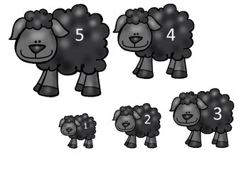 Baa Baa Black Sheep themed Size Sequence preschool educational game.