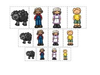 Baa Baa Black Sheep themed Size Sorting preschool educational game.