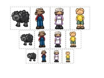 Baa Baa Black Sheep themed Size Sorting preschool educatio