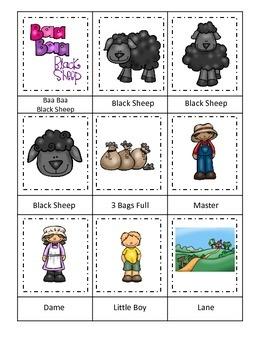 Baa Baa Black Sheep themed Three Part Matching preschool educational game.