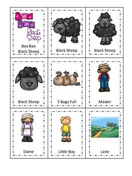 Baa Baa Black Sheep themed Three Part Matching preschool e