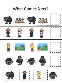 Baa Baa Black Sheep themed What Comes Next preschool educational game.