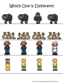 Baa Baa Black Sheep themed Which One is Different preschool educational game.