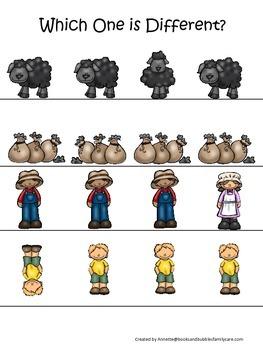 Baa Baa Black Sheep themed Which One is Different preschoo