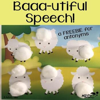 Baaa-utiful Speech FREEBIE for Antonyms