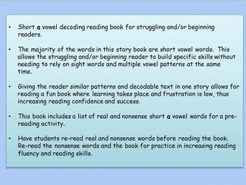 Short a vowel book for struggling readers and/or emerging readers