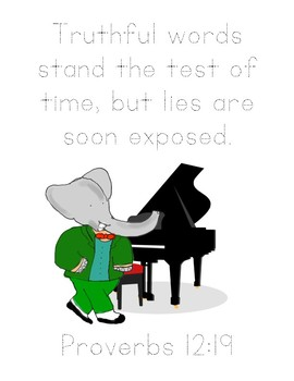 Babar, To Duet or Not to Duet Bible Verse Printable (Proverbs 12:19)