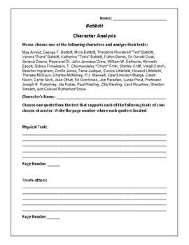 Babbitt Character Analysis Activity - Sinclair Lewis