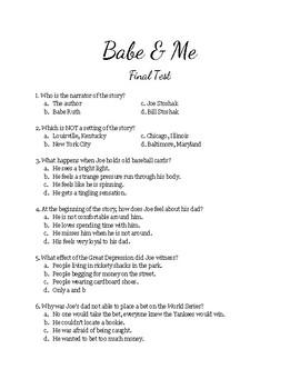 Babe & Me by Dan Gutman - final test quiz