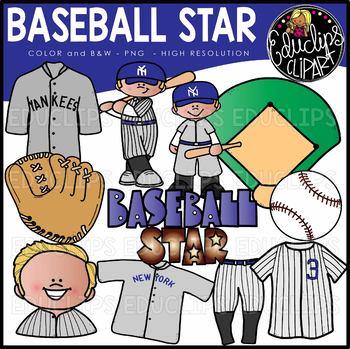 Baseball Star Clip Art Set {Educlips Clipart}