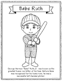 Babe Ruth Coloring Page Craft Or Poster With Mini Biography, ...