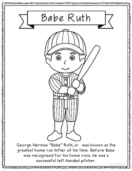 Babe Ruth Coloring Page Craft or Poster with Mini Biography, Baseball