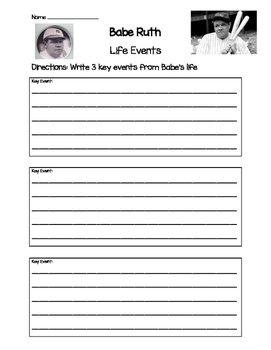 Babe Ruth- Key Life Events Worksheet