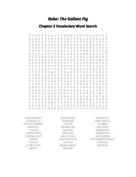 Babe - The Gallant Pig Chapter 2 Vocabulary Word Search
