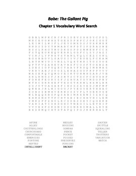 Babe - The Gallant Pig Chapters 1-12 Vocabulary Word Search Packet