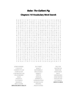 Babe - The Gallant Pig Chapters 7-8 Vocabulary Word Search
