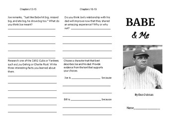 Babe and Me by Dan Gutman - Reading response brochure/trifold