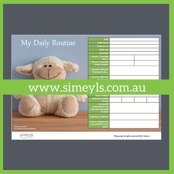 Babies Daily Routine. Supports EYLF &/or NQF Australia