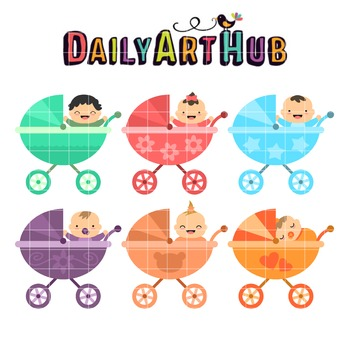 Babies On Strollers Clip Art - Great for Art Class Projects!