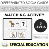 Adult and Baby Zoo Animals Matching BOOM cards PREK FOR ALL Special Education